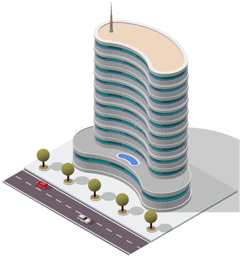 Prédio de apartamentos isométrico do hotel do vetor ilustração royalty free