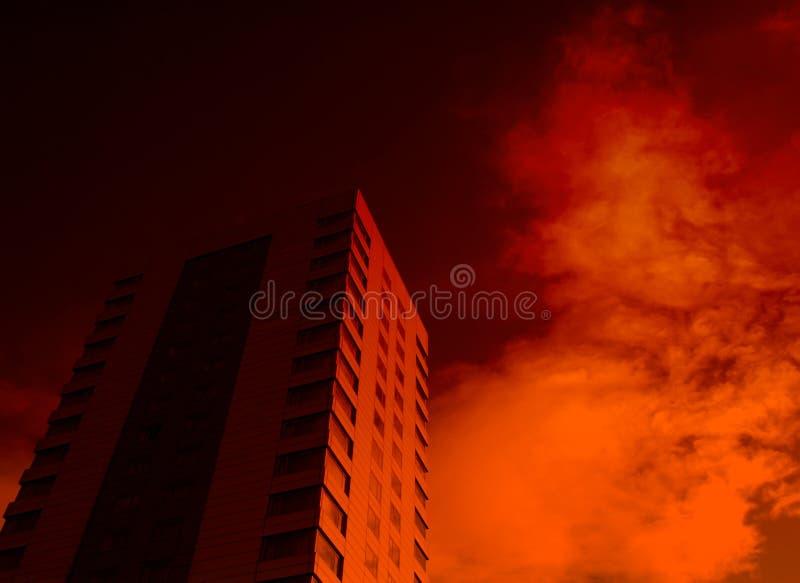 Prédio de escritórios e efeito vermelho foto de stock royalty free