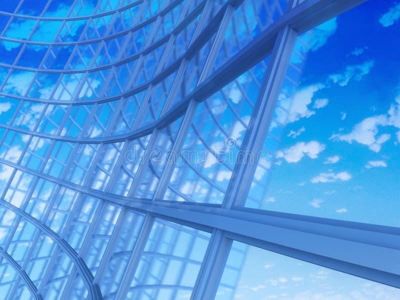Prédio de escritórios em um fundo do céu azul ilustração do vetor