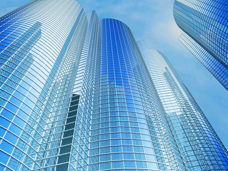 Prédio de escritórios em um fundo do céu azul fotografia de stock