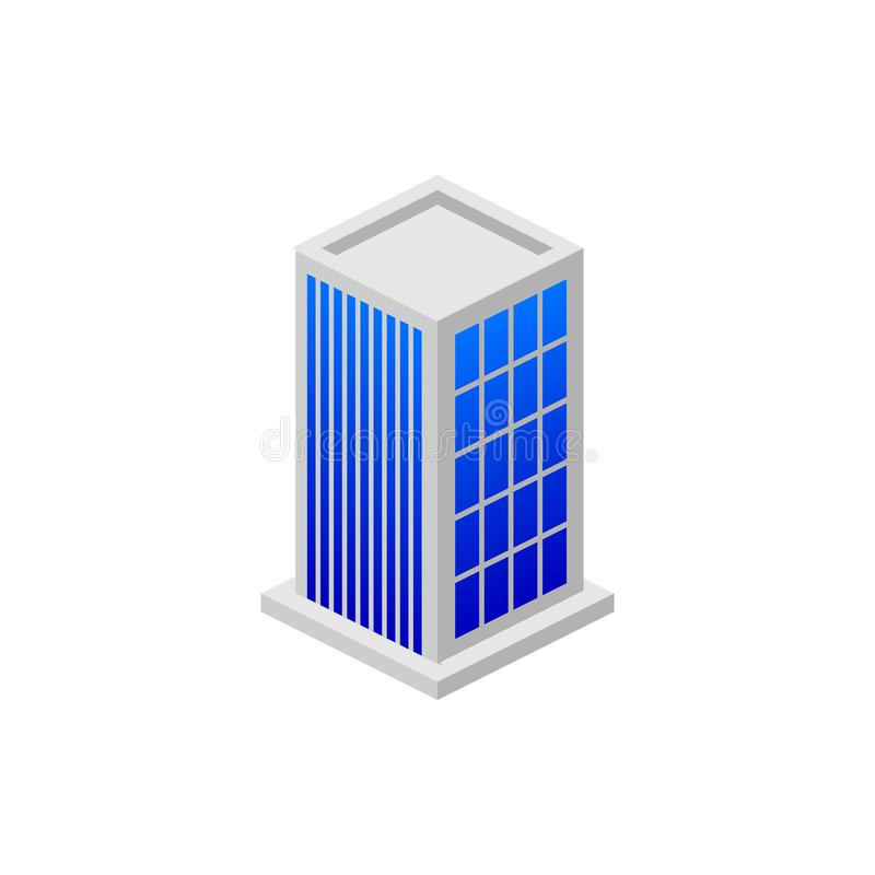 Prédio de escritórios isométrico Elemento da construção isométrica da cor Ícone superior do projeto gráfico da qualidade sinais e ilustração do vetor
