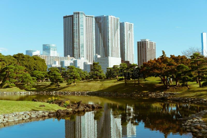 Prédios de apartamentos novos por um parque no Tóquio, Japão foto de stock