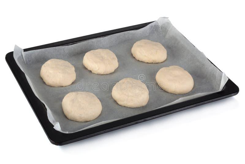 Préparation crue faite maison de petit pain images stock