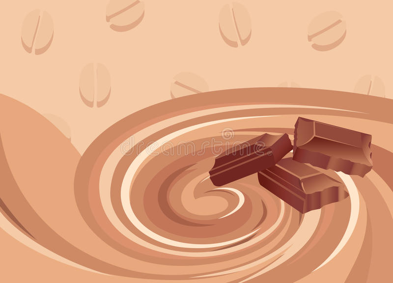Préparation de chocolat et déjeuner de café illustration de vecteur