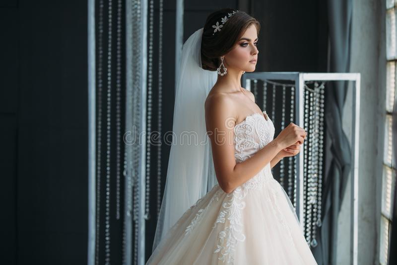 Préparation de la jeune mariée un jour du mariage Belle fille de brune dans une robe de luxe blanche, avec des boucles d'oreille, image libre de droits