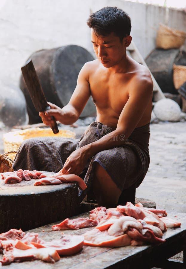 Préparation de la nourriture, Myanmar photos stock
