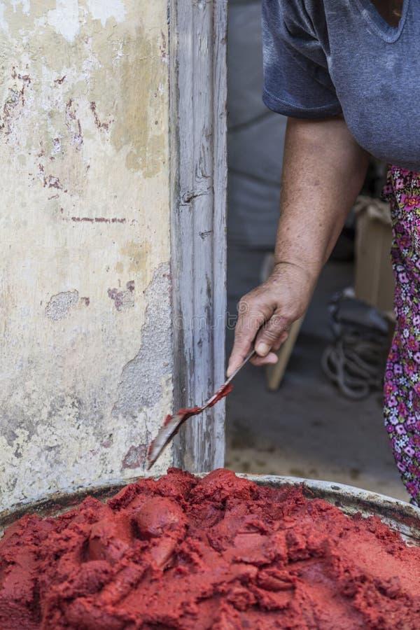 Préparation de la sauce tomate faite maison en Turquie photos stock