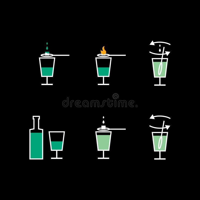 Préparation de liqueur d'absinthe Plan de préparation illustration de vecteur
