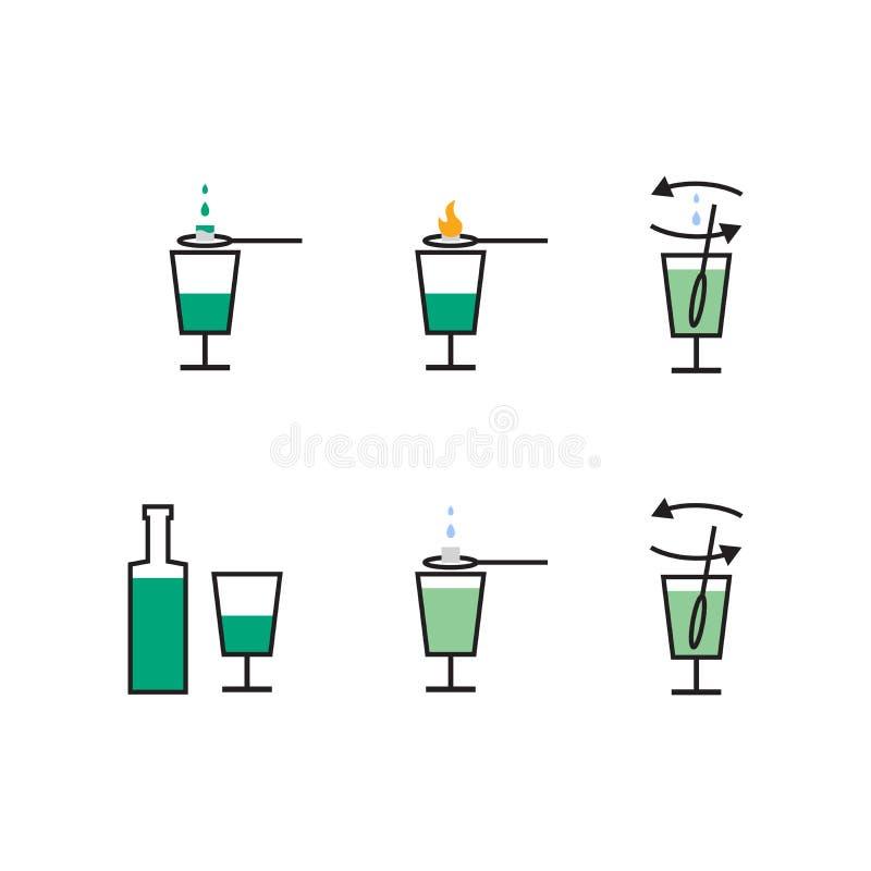 Préparation de liqueur d'absinthe Plan de préparation illustration libre de droits