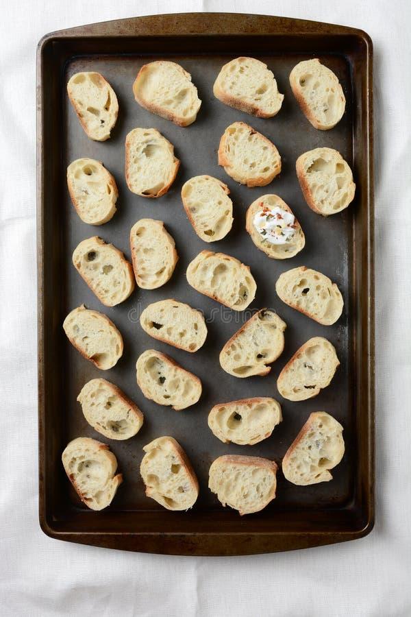Préparation de pain à l'ail photo stock