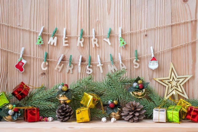 Préparation de partie de décoration de Joyeux Noël pour le concept de vacances, bonne année image libre de droits