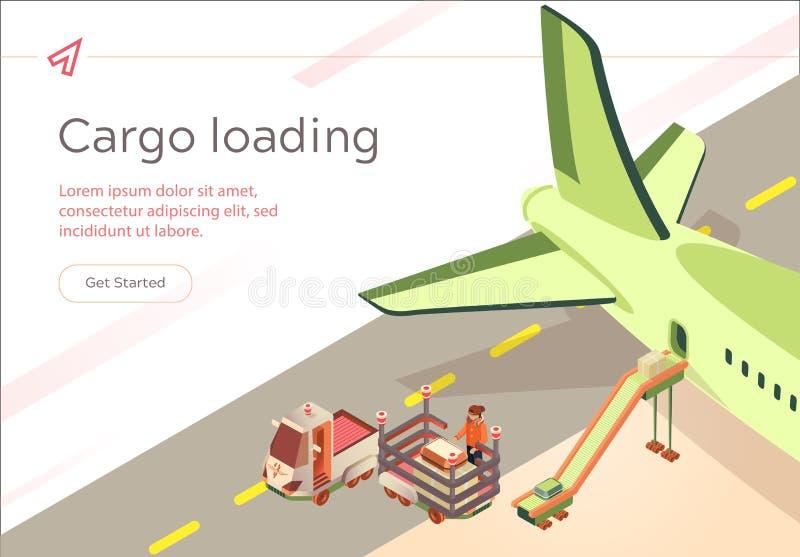 Pr?paration de vol de chargement de cargaison de banni?re de vecteur illustration libre de droits