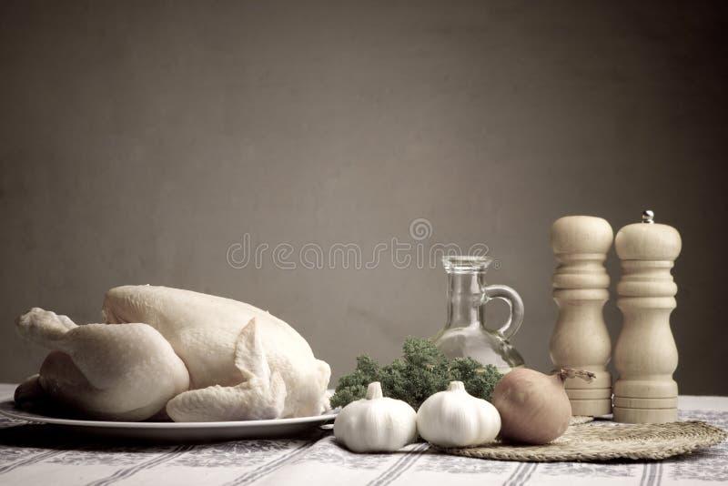 Préparation du poulet photos stock