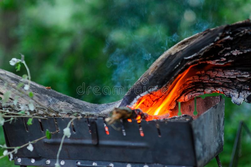 Préparation pour faire cuire la nourriture sur le gril dans les bois photo stock