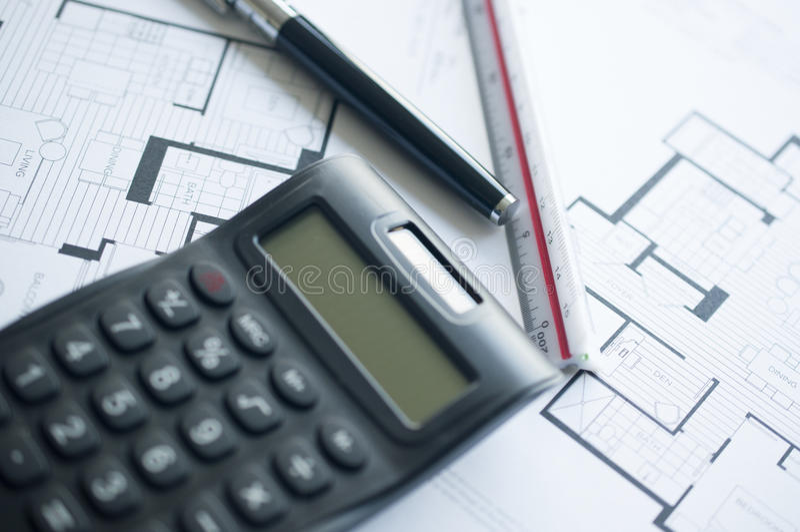 Prépare le floorplan architectural pour une résidence photos stock