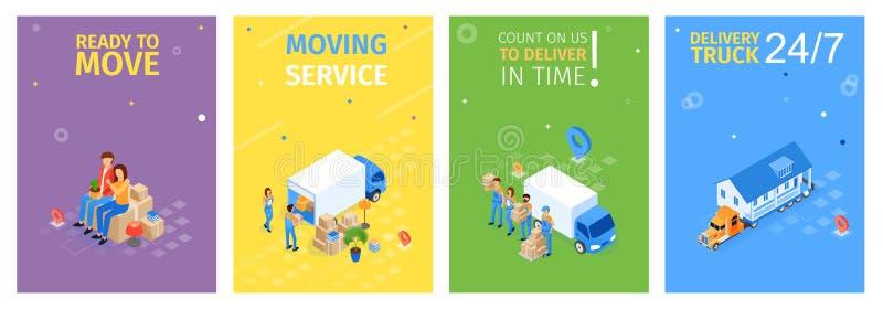 Préparez pour se déplacer, illustration mobile de vecteur de service illustration stock