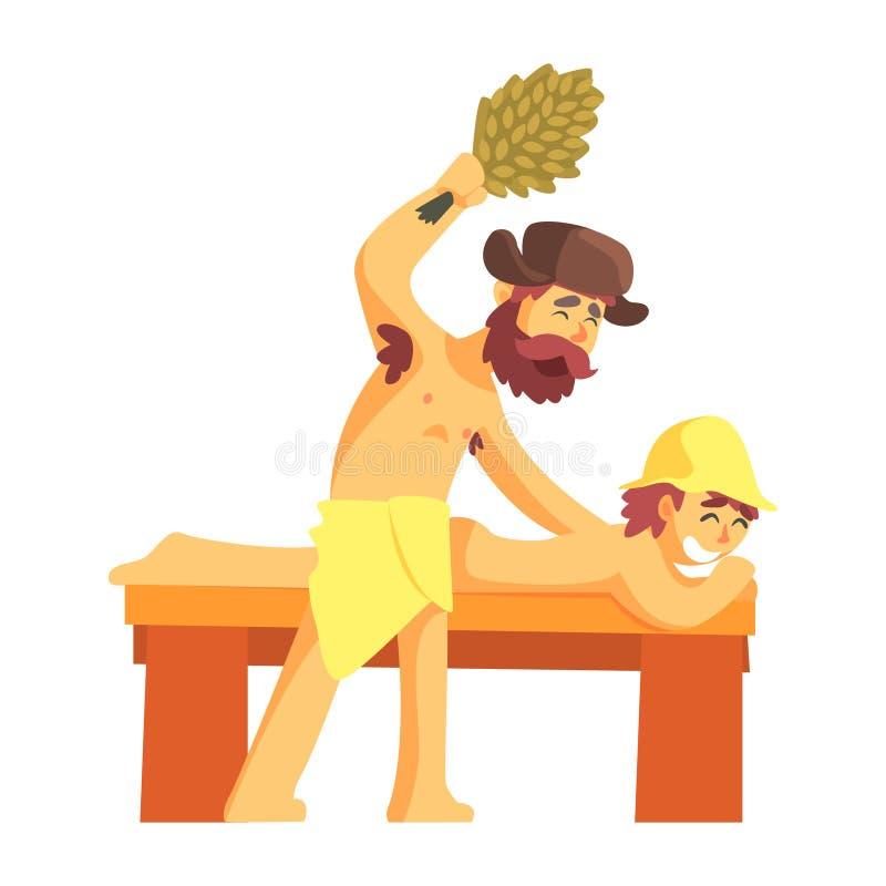 Préposé frappant un groupe de Guy Laying On Bench With de brindilles vertes d'arbre de bouleau, une partie de série russe de Cham illustration de vecteur