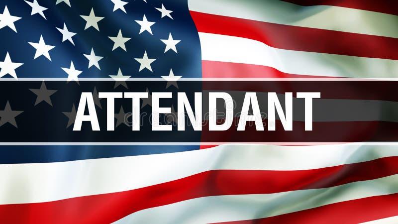 Préposé sur un fond de drapeau des Etats-Unis, rendu 3D Drapeau des Etats-Unis d'Amérique ondulant dans le vent Drapeau américain illustration stock