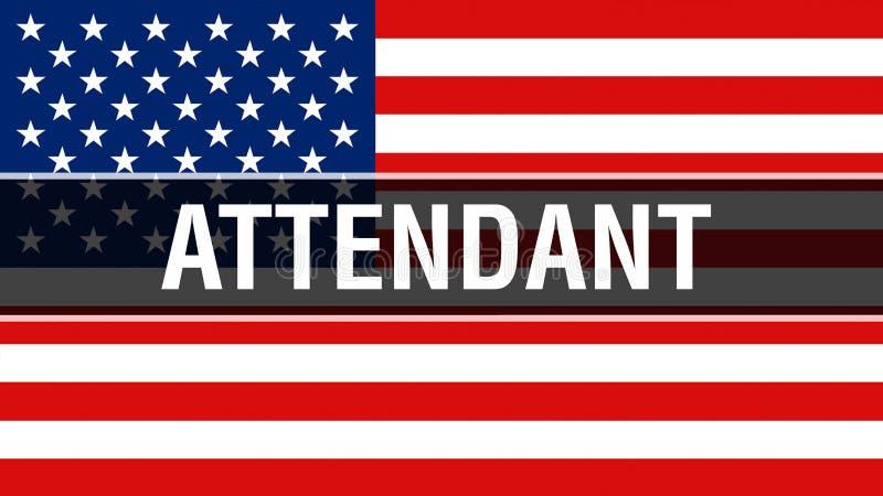 Préposé sur un fond de drapeau des Etats-Unis, rendu 3D Drapeau des Etats-Unis d'Amérique ondulant dans le vent Drapeau américain illustration de vecteur