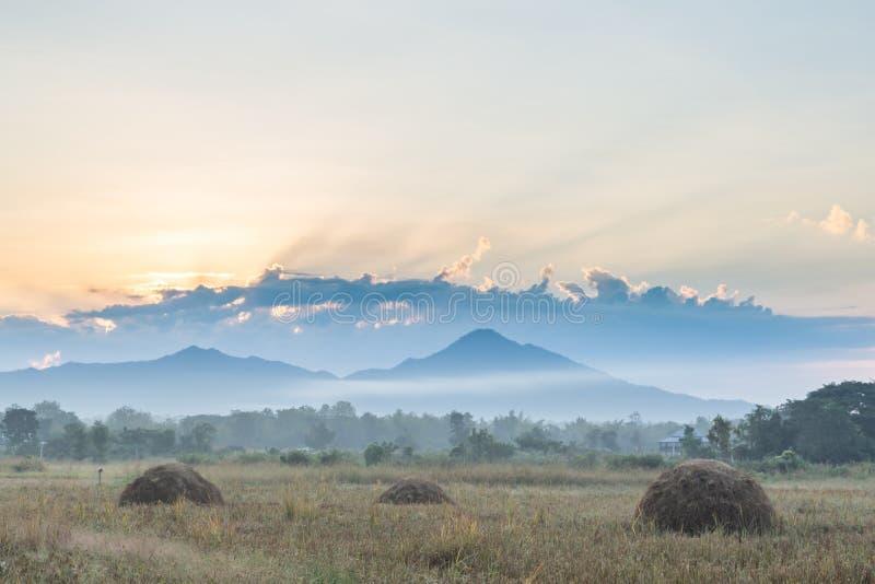 Prés et montagnes pendant le matin photographie stock