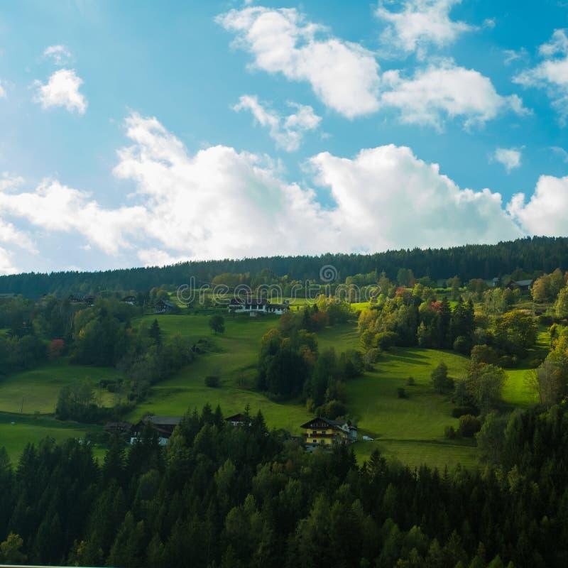 Prés vert clair et ciel bleu image stock
