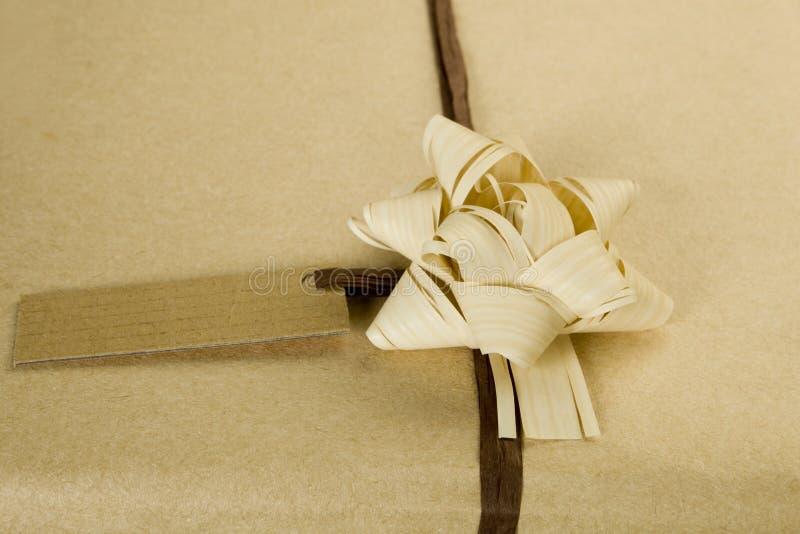 Présent enveloppé écologique. photo stock