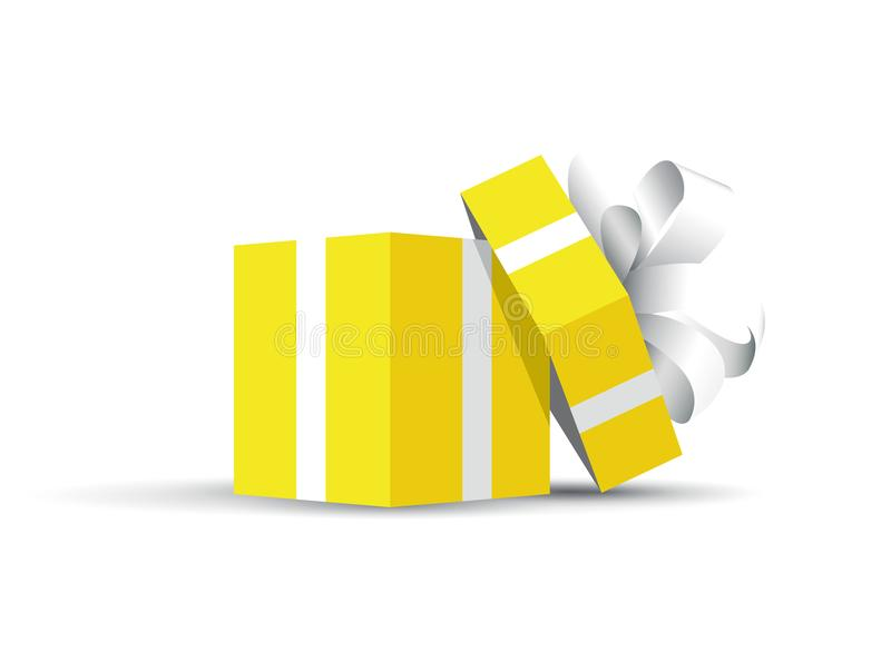 Présent enveloppé par jaune illustration stock