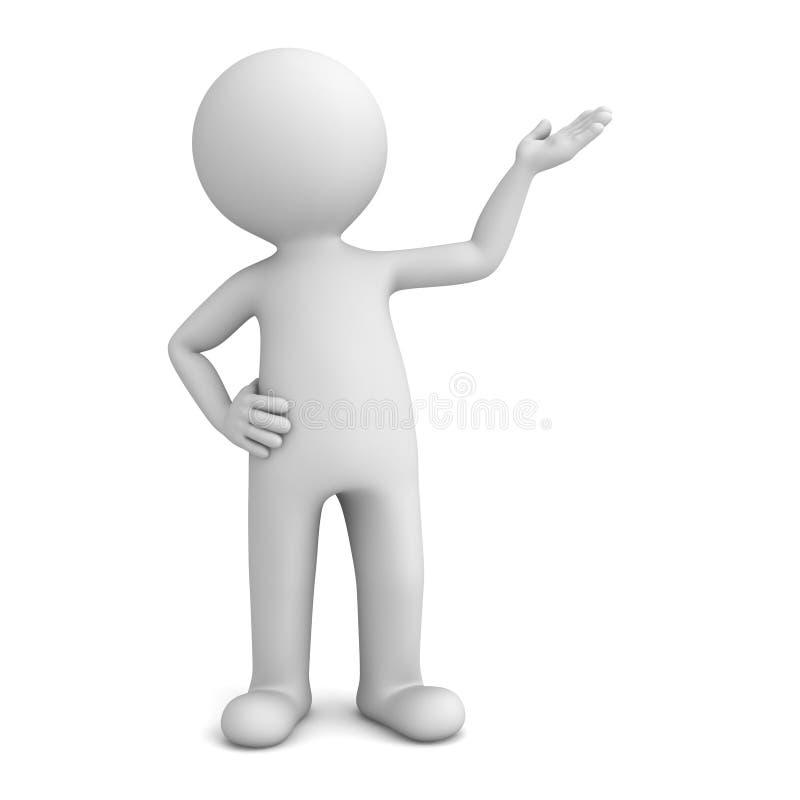 présentateur de l'homme 3d tenant et dirigeant la main à l'espace vide d'isolement au-dessus du fond blanc illustration libre de droits