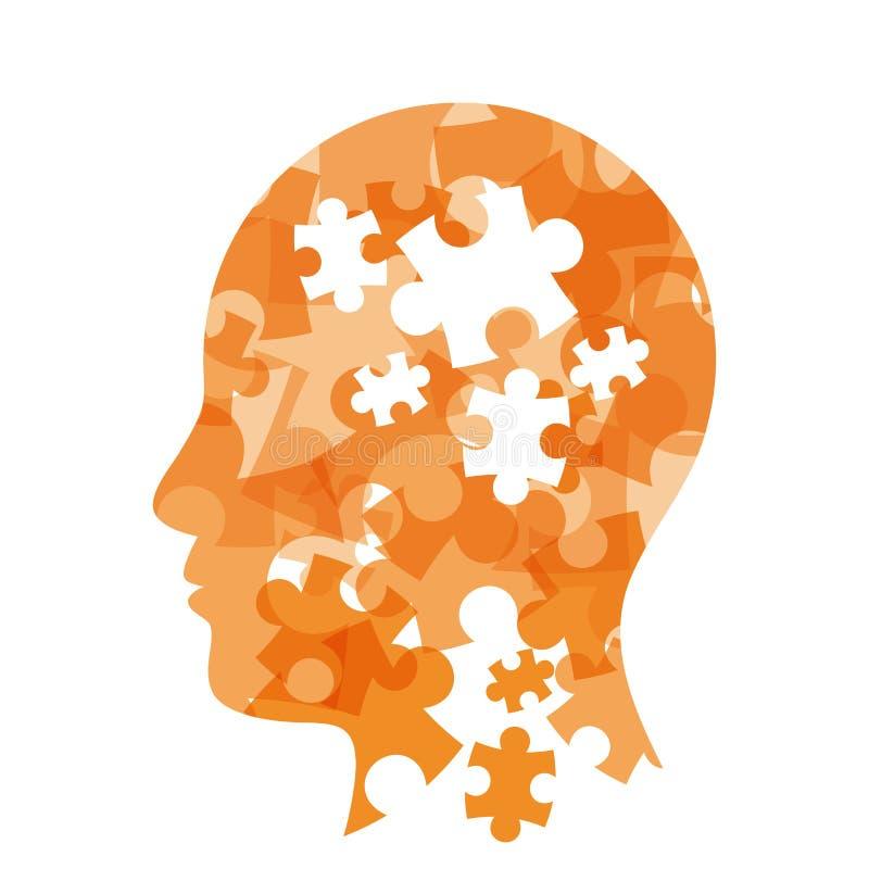 Présentation colorée de concept de tête de puzzle illustration libre de droits
