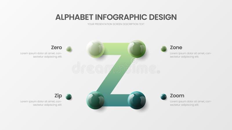Présentation colorée réaliste infographic des boules 3D de vecteur de l'alphabet Z de conception de personnages d'option étonnant illustration libre de droits
