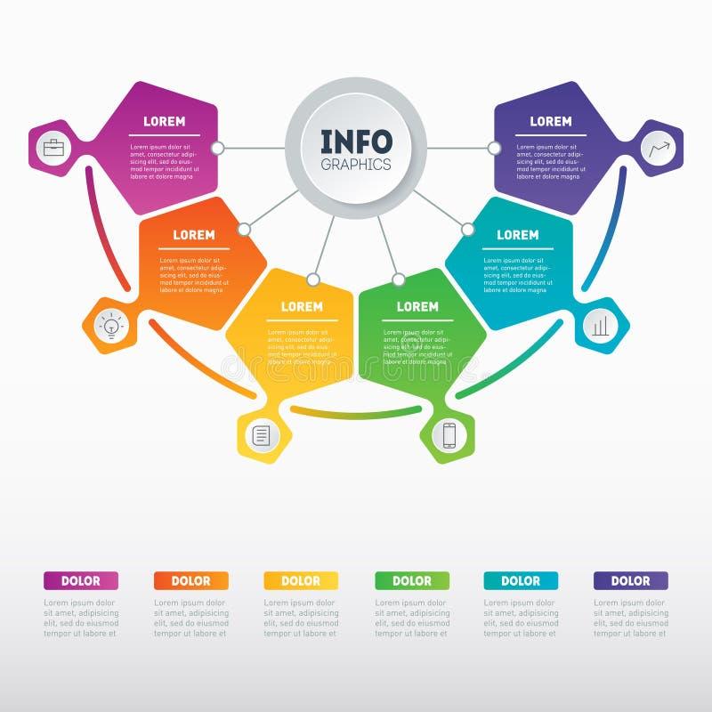 Présentation d'affaires ou exemples infographic avec 6 options Le VE illustration stock