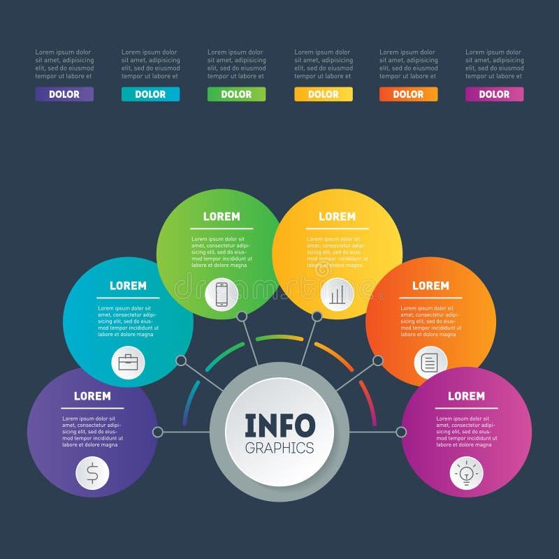 Présentation d'affaires ou exemples infographic avec 6 options Le VE illustration de vecteur