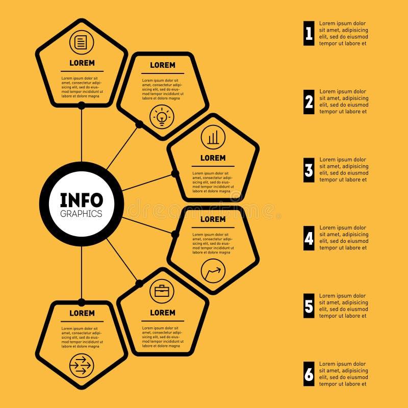 Présentation d'affaires ou infographic avec 6 options Web Templat illustration de vecteur
