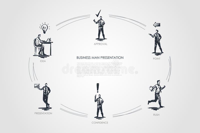 Présentation d'homme d'affaires - idée, présentation, confiance, précipitation, point, ensemble de concept de vecteur d'approbati illustration de vecteur