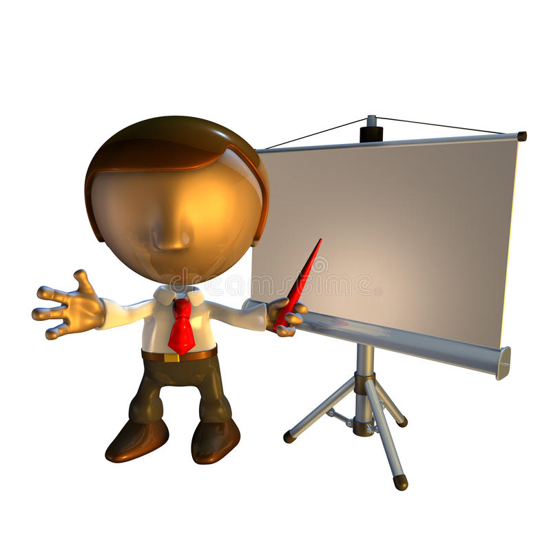 présentation d'homme de matériel des affaires 3d illustration libre de droits