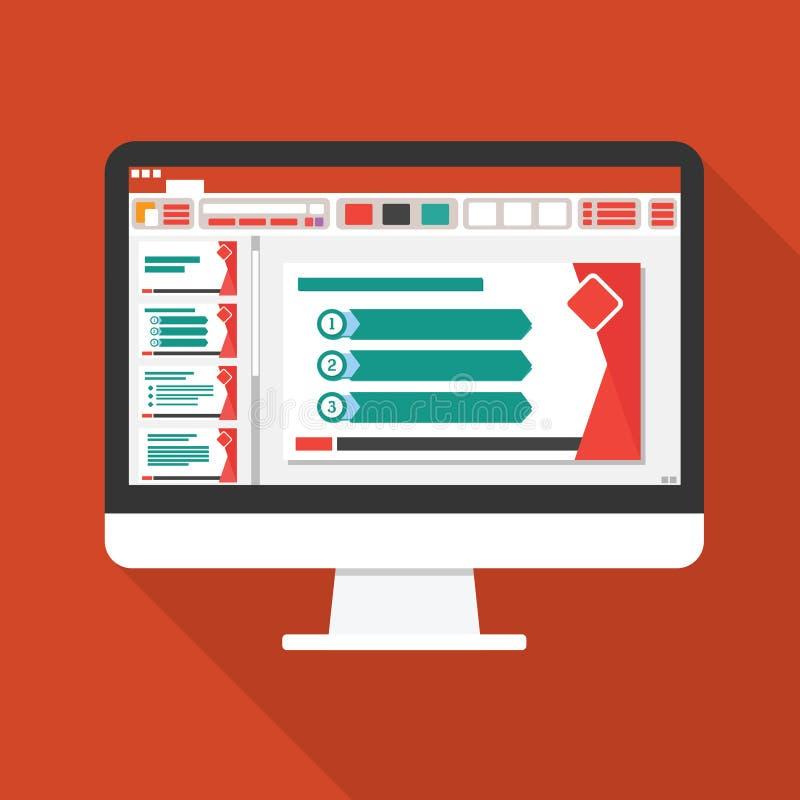 présentation de diapositives sur l'icône plate d'écran d'ordinateur Concept de rapport de gestion choses de bureau pour prévoir e illustration de vecteur