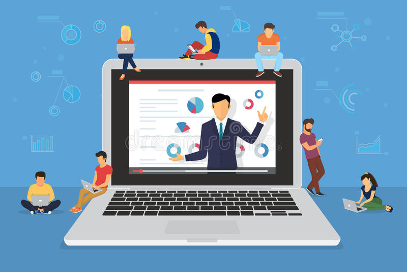 Présentation de haut-parleur de séminaire d'affaires et formation professionnelle au sujet du marketing, des ventes et du commerc illustration de vecteur