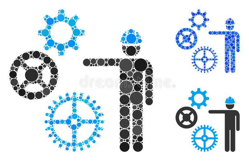 Présentation de la mécanique des engrenages Composition Icône des objets sphériques illustration de vecteur