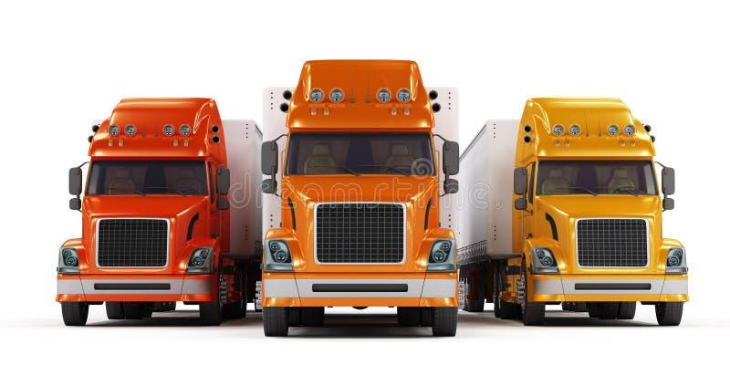 Présentation de quelques camions d'isolement sur le blanc illustration libre de droits