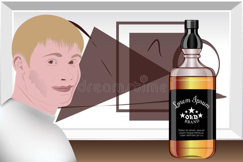 Présentation des boissons alcoolisées Studio de conception préparation de calibre Vecteur illustration de vecteur