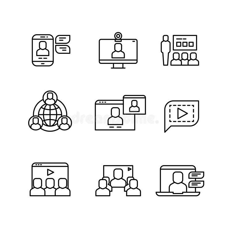 Présentation, icônes linéaires de communication de vecteur webinar et en ligne de conférence d'ordinateur illustration de vecteur