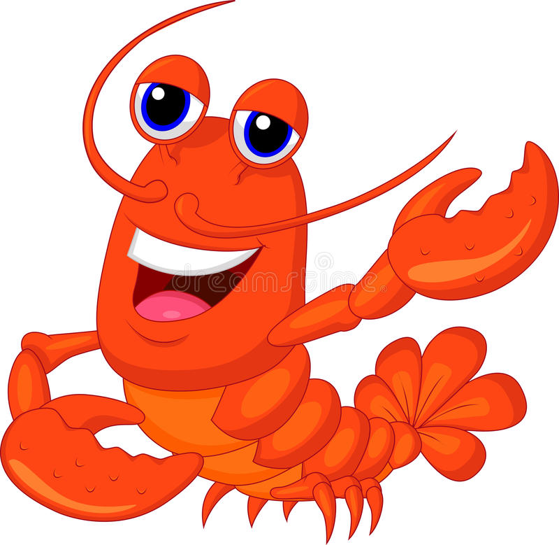 Présentation mignonne de bande dessinée de homard illustration libre de droits