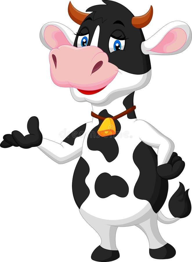 Présentation mignonne de bande dessinée de vache illustration libre de droits