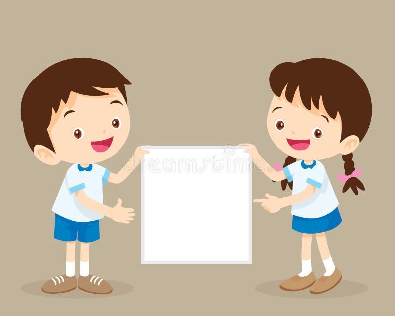 Présentation mignonne de garçon et de fille d'étudiant illustration de vecteur