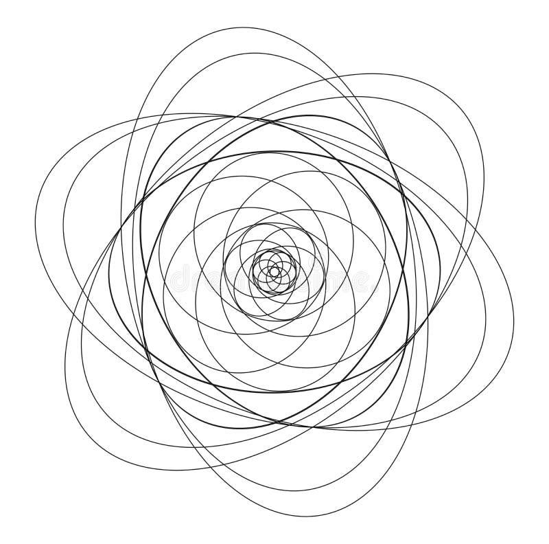 Présentation non colorée de chemin orbital d'atome illustration libre de droits