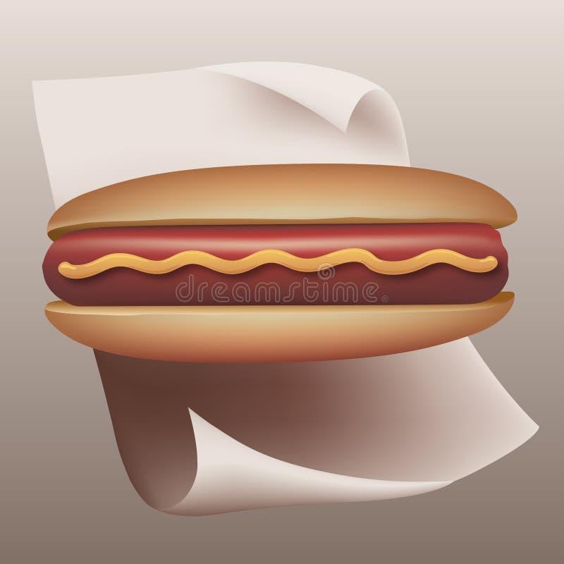 Présentation savoureuse d'un hot-dog dans le plan de raproché illustration stock