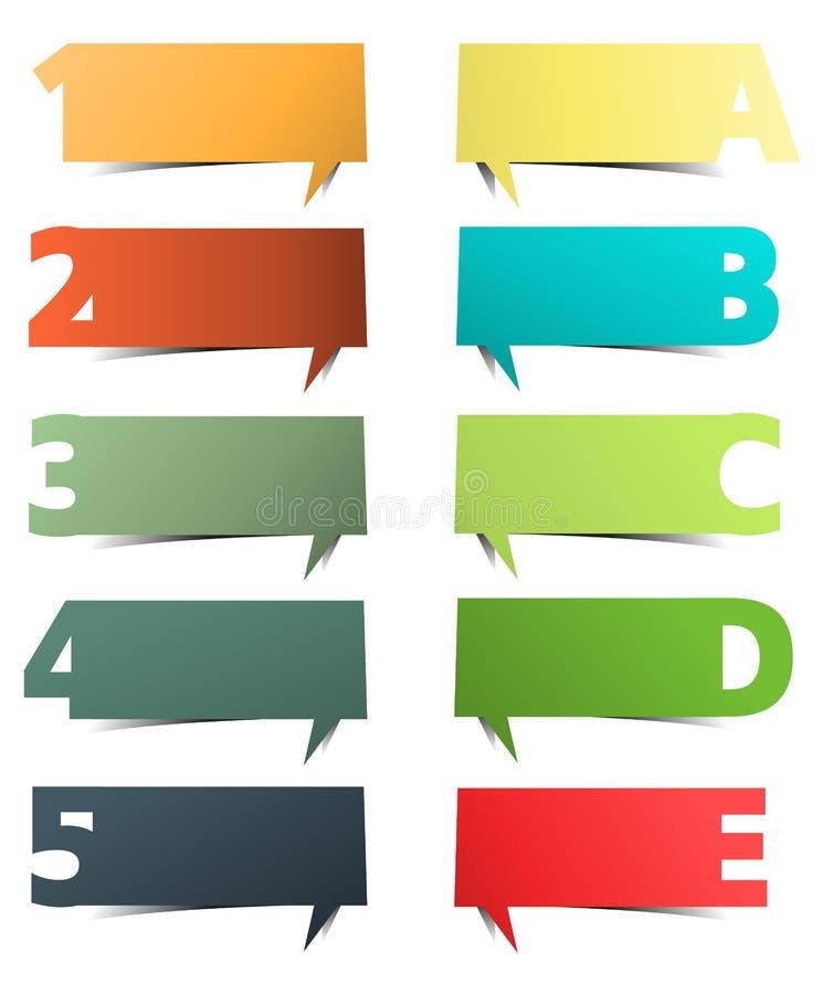 Présentations colorées avec des lettres et des numéros illustration stock