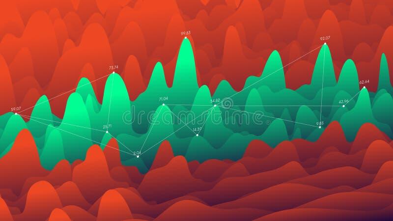 Présentations posées d'affaires de courbe, grandes technologies de visualisation de données illustration libre de droits