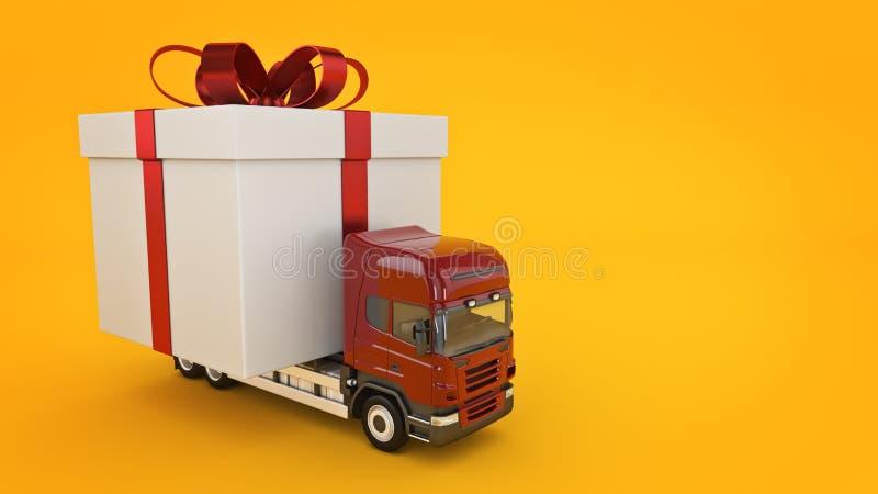 Présente le concept de service de distribution, camion avec un boîte-cadeau illustration de vecteur