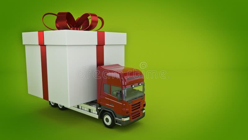 Présente le concept de service de distribution, camion avec un boîte-cadeau illustration libre de droits